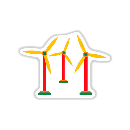 windfarm: paper sticker on white  background wind mill