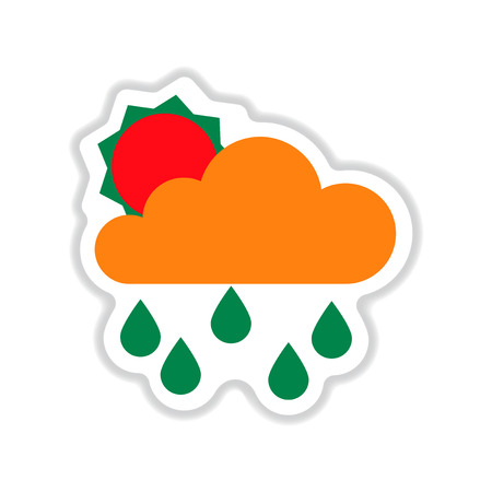 paper sticker on white  background sun clouds rain Illustration