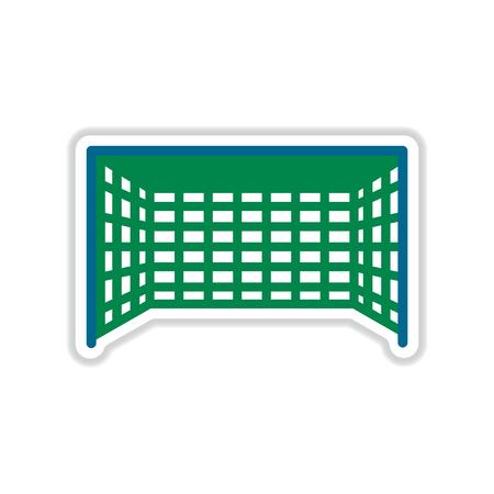 football goal: paper sticker on white  background football goal