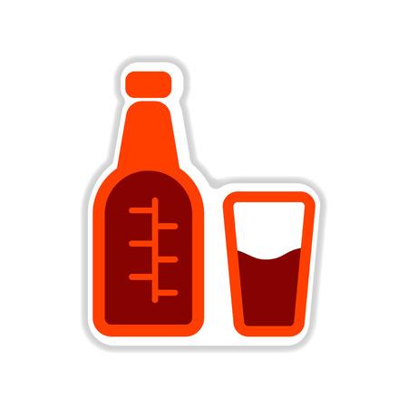 distill: paper sticker on white  background glass bottle Illustration