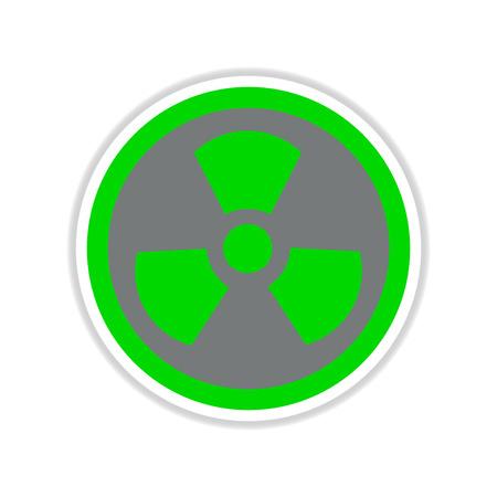 germ warfare: paper sticker on white  background toxic symbol Illustration