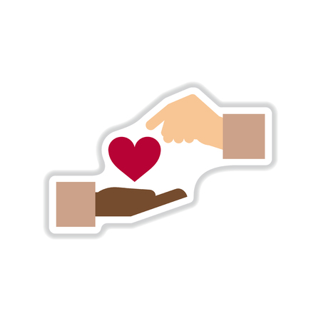 passion ecology: paper sticker on white  background hands heart