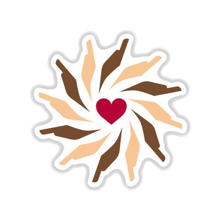 paper sticker on white  background hands heart