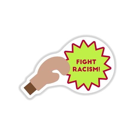 african solidarity: paper sticker on white  background racism