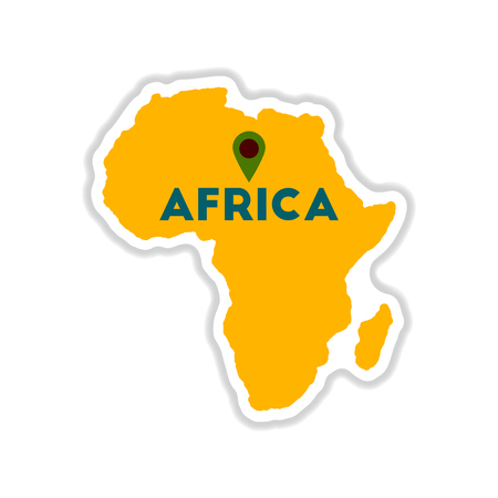 equator: paper sticker on white  background Africa map