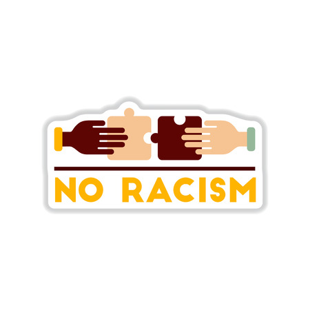 african solidarity: paper sticker on white  background no racism