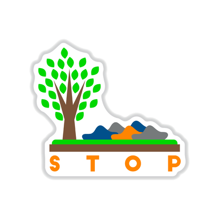 stop pollution: paper sticker on white  background stop environmental pollution