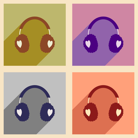 earmuff: Set flat icons with long shadow earmuffs hearts