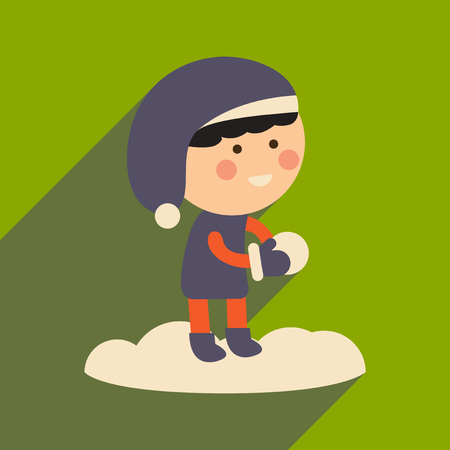 palle di neve: flat icon with long shadow boy playing snowballs