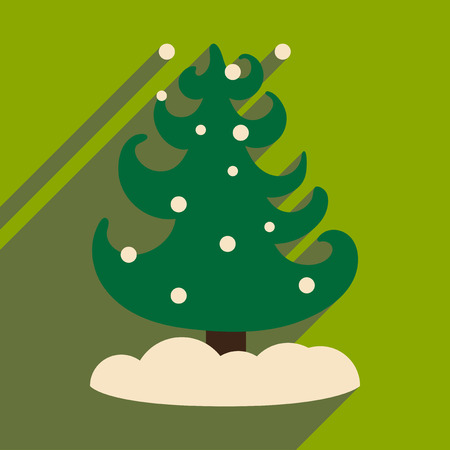 flat icon with long shadow tree snowflakes Illustration