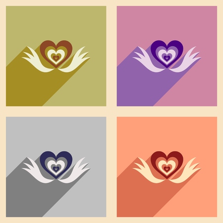 heart with wings: Set of flat web icons with long shadow heart wings