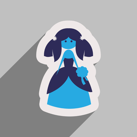 Flat web icon with long shadow bride Illustration