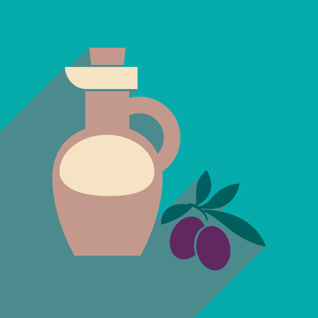 Flat web icon with long shadow olive oil Illustration