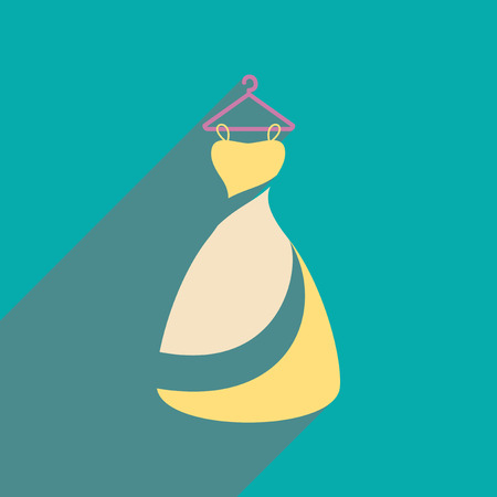 Flat web icon with long shadow Wedding Dress