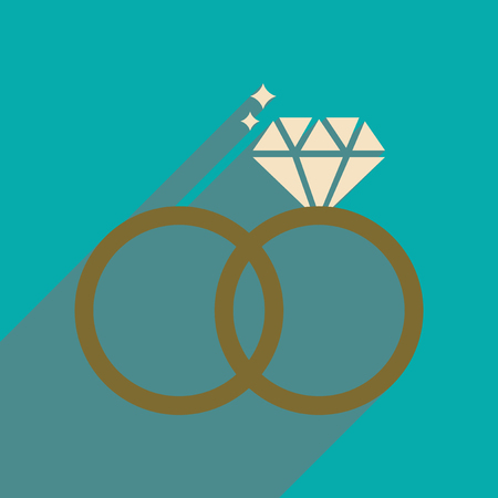 Flat web icon with long shadow wedding rings Illustration