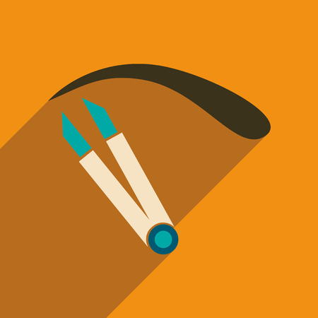 tweezers: Flat icon with long shadow women eyebrow Tweezers Illustration