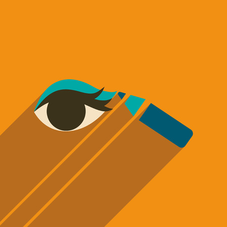 Flat icon with long shadow Eyeliner pencil Illustration