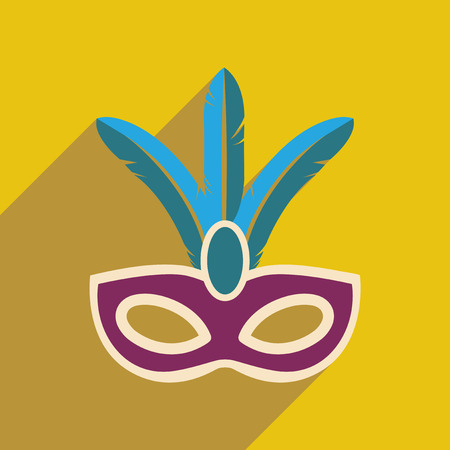 parade: Flat web icon with long shadow Carnival mask