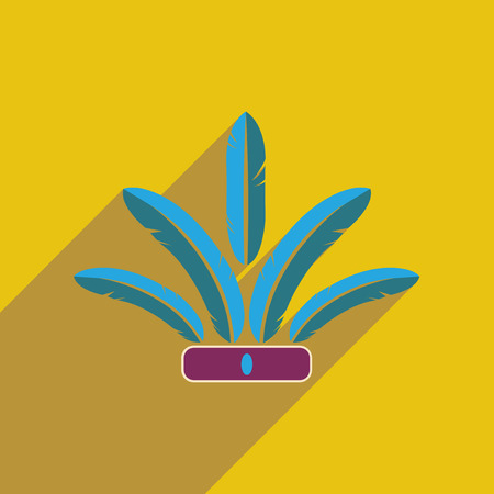 Flat web icon with long shadow Indian feathers