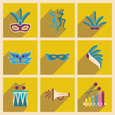 showgirl: Concept of flat icons with long shadow Brazilian Carnival
