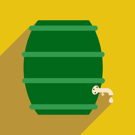 wood staves: Flat web icon with long shadow keg of beer Illustration