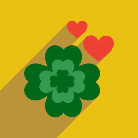 irish culture: Flat web icon with long shadow clover