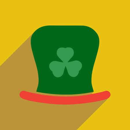 irish culture: Flat web icon with long shadow Irish hat