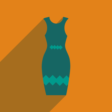 Flat icon with long shadow  elegant dress