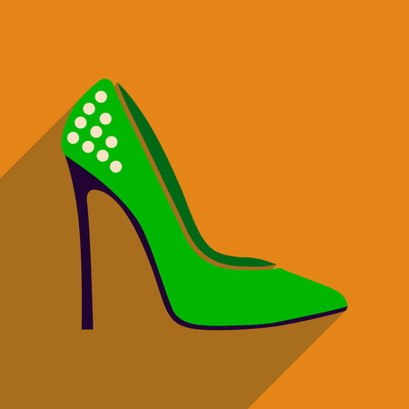 stiletto: Flat icon with long shadow  stiletto heels Illustration