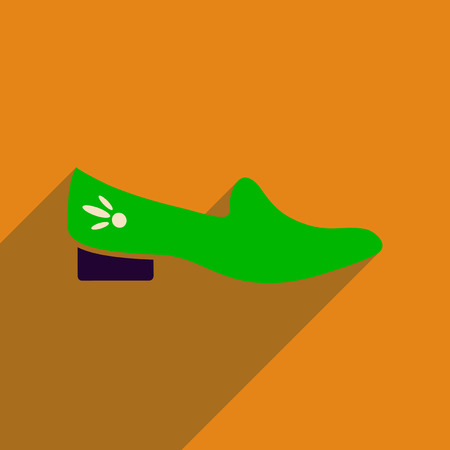 Flat icon with long shadow  heeled shoes