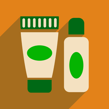 personal grooming: Flat icon with long shadow  cream and shaving gel Illustration