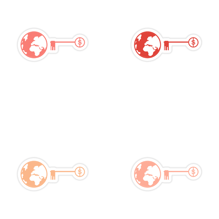 patent key: Set of stylish sticker on paper globe and key money Illustration