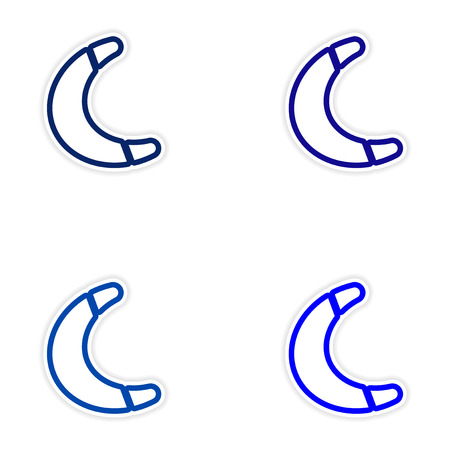 Set of stickers Australian boomerang on white background