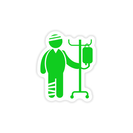 geriatrics: paper sticker man bandaged on white background