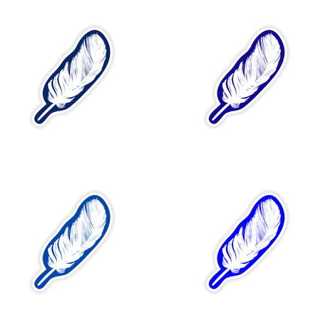 Set of stickers feather bird on white background