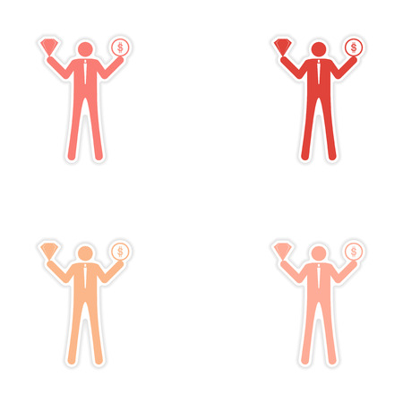 hoard: Set of stylish sticker on paper man holding diamond and coin