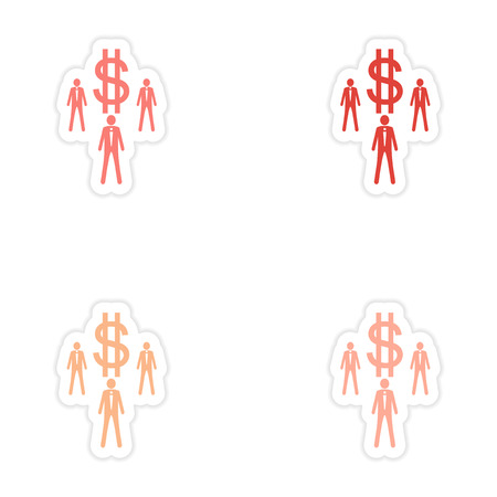 Set of stylish sticker on paper businessmen and dollar Illustration
