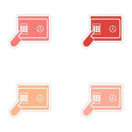 pin code: Set of stylish sticker on paper pin code password safe
