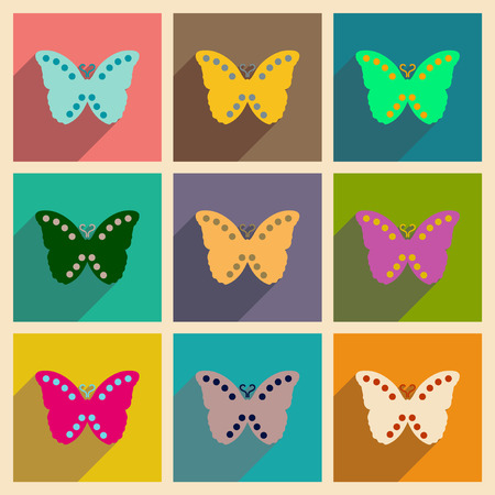 antennae: Concept of flat icons with long shadow  flying butterflies Illustration