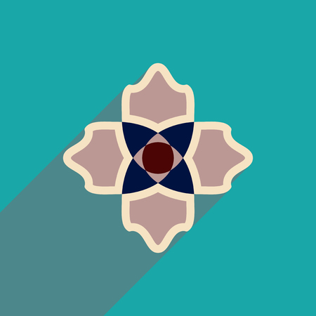 margerite: flat icon with long shadow  flower silhouette
