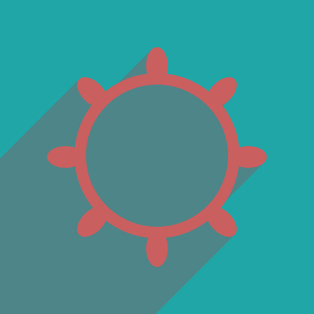 ship steering wheel: Flat web icon with long  shadow ship steering wheel Illustration