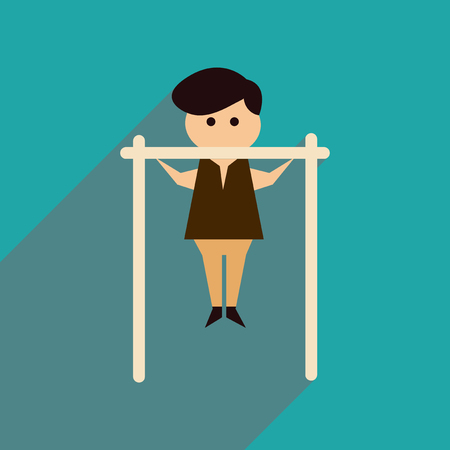 muscularity: Flat web icon with long  shadow man horizontal bar Illustration