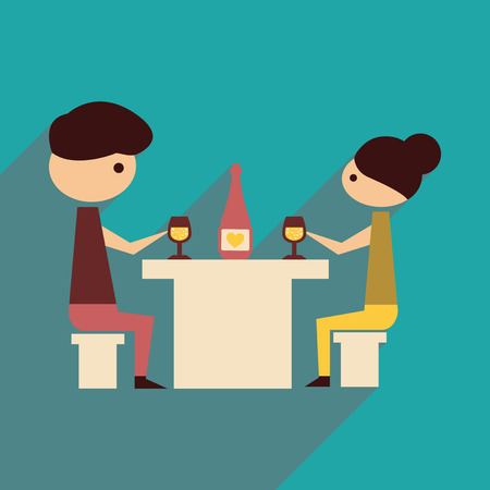 dinner date: Flat web icon with  long shadow husband wife dinner