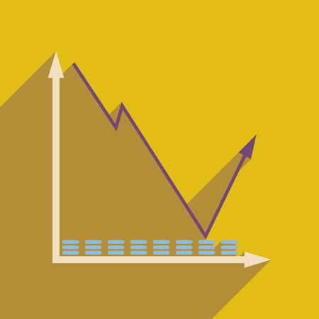 economic forecast: Flat web icon with long  shadow economic graph Illustration