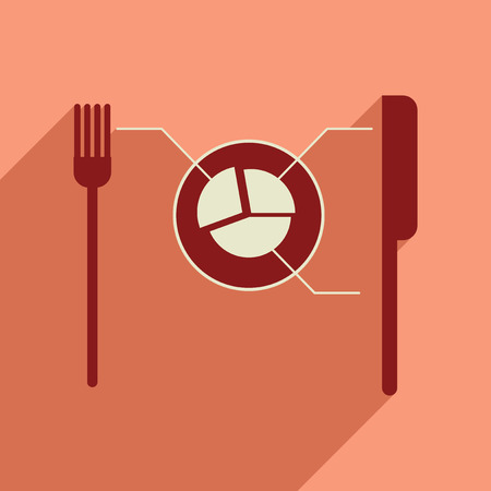 knife and fork: Flat web icon with long  shadow Knife Fork infographics