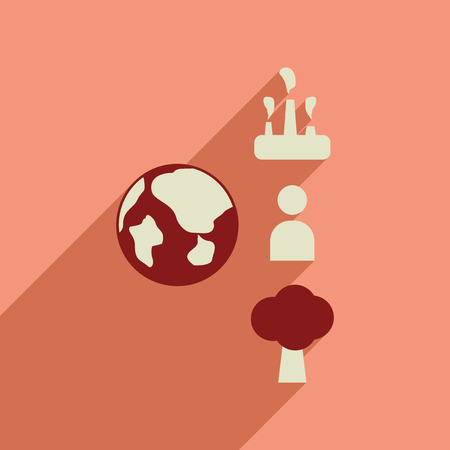 Flat web icon with long  shadow Earth infographics Illustration