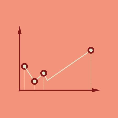 Flat web icon on stylish  background economy graph Ilustrace