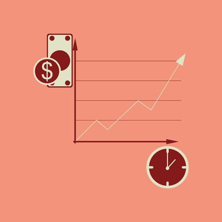 Flat web icon on stylish background time money chart