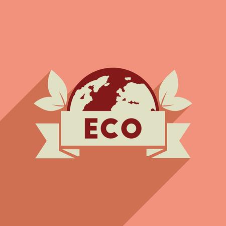 Flat web icon with long shadow  eco symbol Illustration