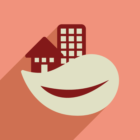 built: Flat web icon with long  shadow Eco-house Illustration